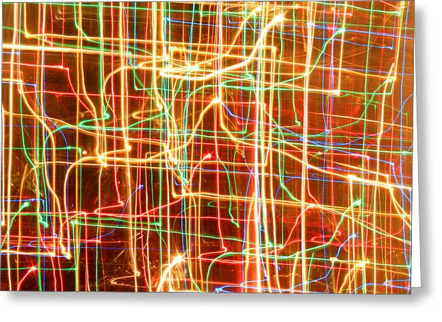 Rainbow Fantasy Art Greeting Card Greeting Cards - Christmas Lights Patterns Greeting Card by Julia Fine Art And Photography