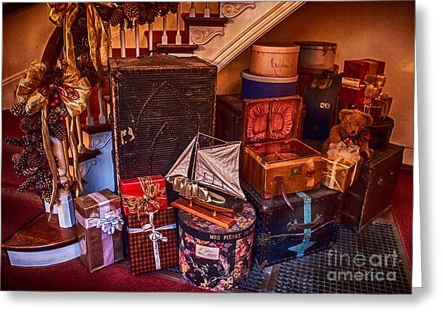 Owner Photographs Greeting Cards - Christmas Luggage Color Greeting Card by Iris Richardson