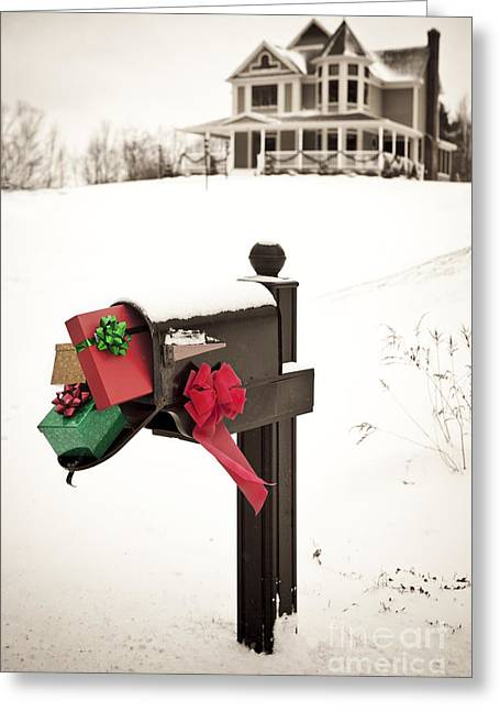 Christmas Greeting Photographs Greeting Cards - Christmas Mailbox Greeting Card by Diane Diederich