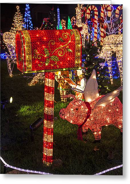 Nighttime Greeting Cards - Christmas Mailbox Greeting Card by Garry Gay