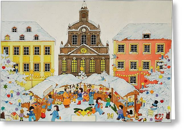 Christmas Market Greeting Cards - Christmas Market, 2001 Wc On Paper Greeting Card by Christian Kaempf