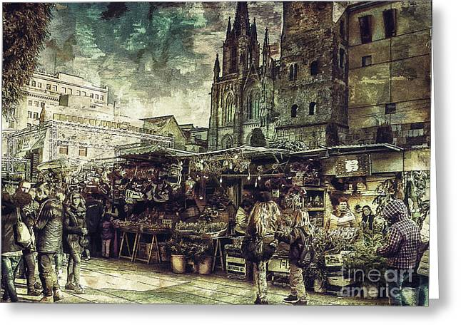 Christmas Art Greeting Cards - Christmas Market - A Dickensian Look Greeting Card by Pedro L Gili