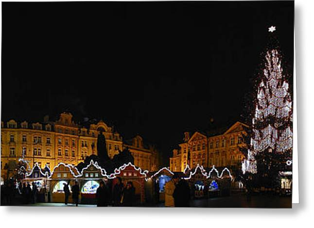 Christmas Market Greeting Card by Gary Lobdell