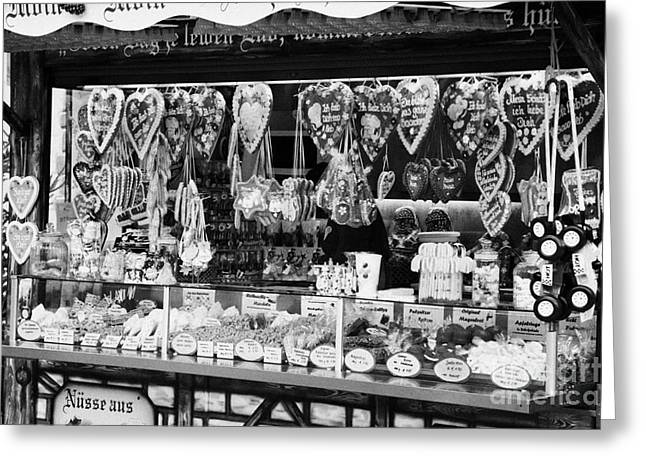 Berlin Germany Greeting Cards - christmas market stall selling Lebkuchen and various sweets and nuts confectionery Berlin Germany Greeting Card by Joe Fox