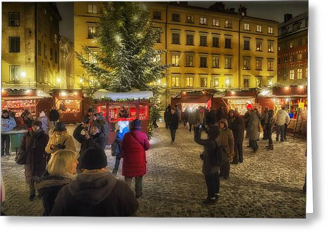 Christmas Market Greeting Cards - Christmas Market Greeting Card by Wade Aiken