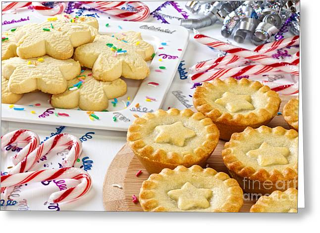Star Shape Greeting Cards - Christmas Mince Pies Cookies Candy Canes Greeting Card by Colin and Linda McKie