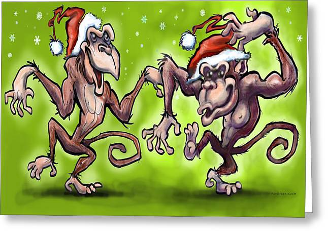 Christmas Monkeys Greeting Card by Kevin Middleton