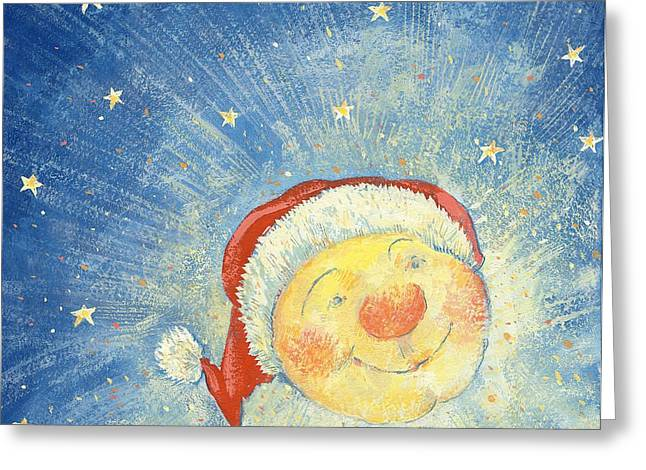 Anthropomorphic Greeting Cards - Christmas Moon Greeting Card by David Cooke