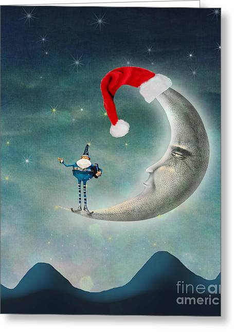 Christmas Art Greeting Cards - Christmas Moon Greeting Card by Juli Scalzi