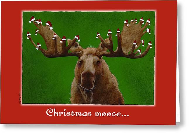 Santa Hat Greeting Cards - Christmas moose... Greeting Card by Will Bullas