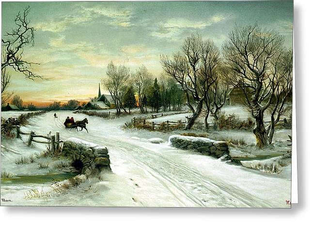 Snow Scene Digital Greeting Cards - Christmas Morn Greeting Card by W C Bauer