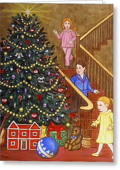 Folk Art Greeting Cards - Christmas Morning Greeting Card by Linda Mears