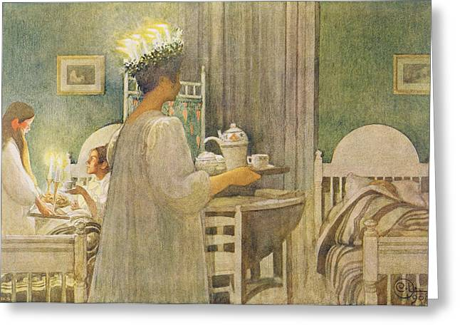 Lumiere Greeting Cards - Christmas Morning, Pub. In Lasst Licht Greeting Card by Carl Larsson