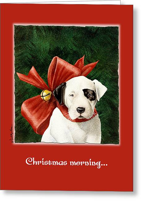 Puppy Christmas Greeting Cards - Christmas morning... Greeting Card by Will Bullas