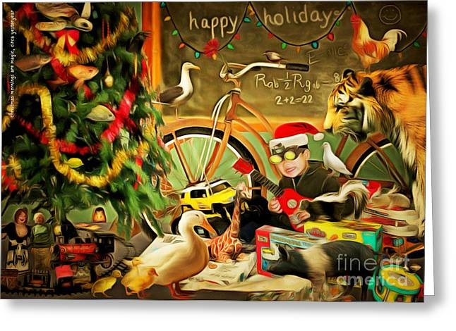 Humourous Greeting Cards - Christmas Mornings Are Magic 20140923 Greeting Card by Wingsdomain Art and Photography