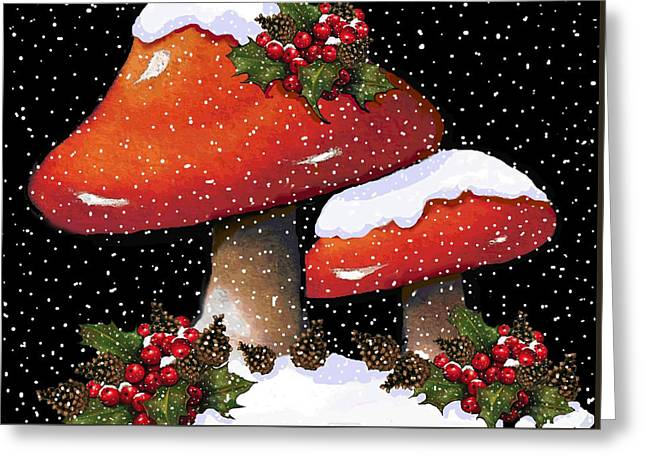 Joyce Geleynse Greeting Cards - Christmas Mushrooms In Snow Greeting Card by Joyce Geleynse