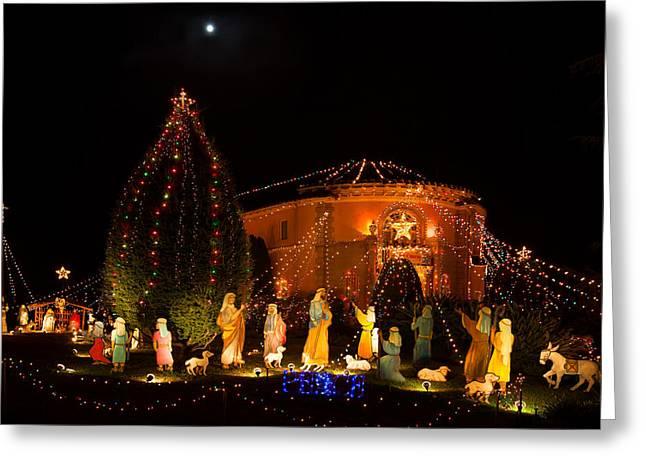 Christmas Nativity Scene Greeting Card by Ram Vasudev