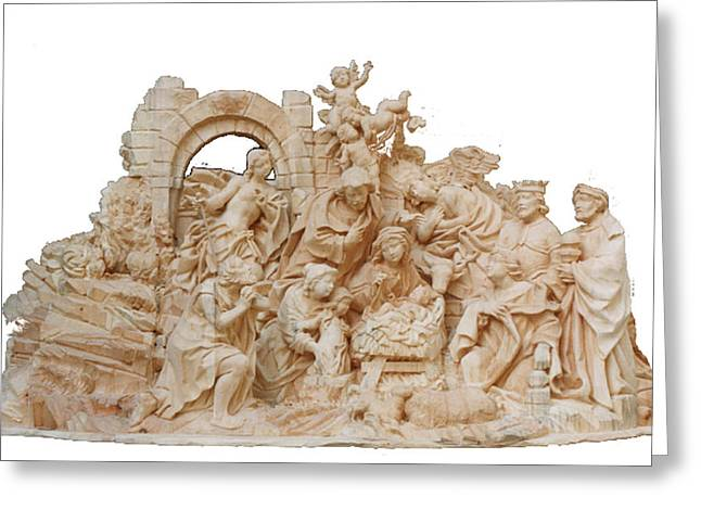 Christmas Art Sculptures Greeting Cards - Christmas Nativity Greeting Card by Wilfried  Senoner