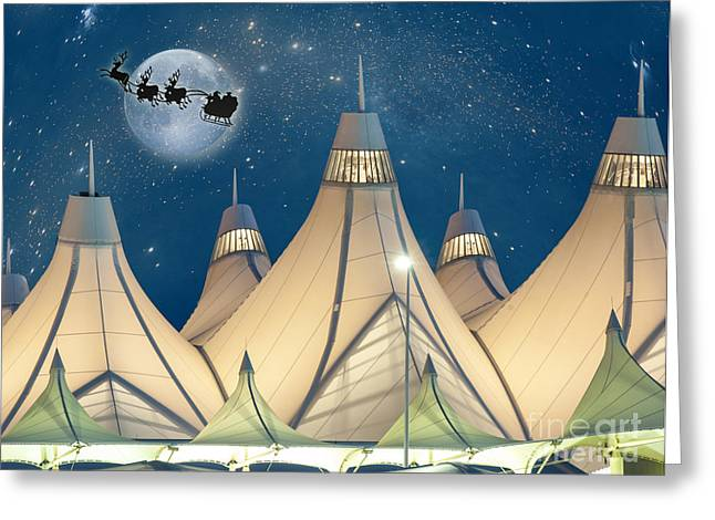 Airports Greeting Cards - Christmas Night at Denver International Airport Greeting Card by Juli Scalzi