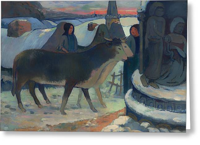 Holy Cow Greeting Cards - Christmas Night Blessing of the Oxen Greeting Card by Paul Gauguin