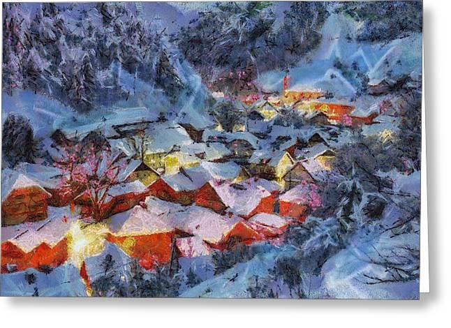 Snowy Evening Greeting Cards - Christmas night Greeting Card by Georgi Dimitrov