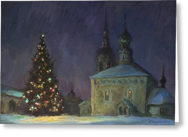 Valery Greeting Cards - Christmas Night in Russia Greeting Card by Valery Kosorukov