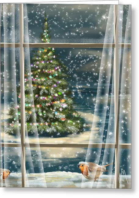 Trees Light Windows Greeting Cards - Christmas night Greeting Card by Veronica Minozzi
