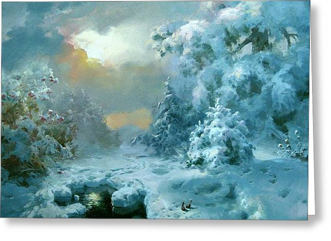 Repulse Greeting Cards - Christmas night fairy Tale Greeting Card by Volodymyr Klemazov