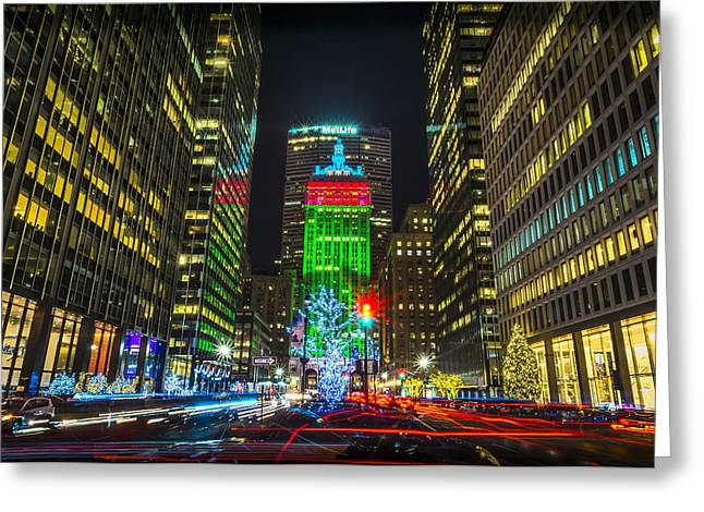 Christmas On Park Avenue Greeting Card by David Morefield