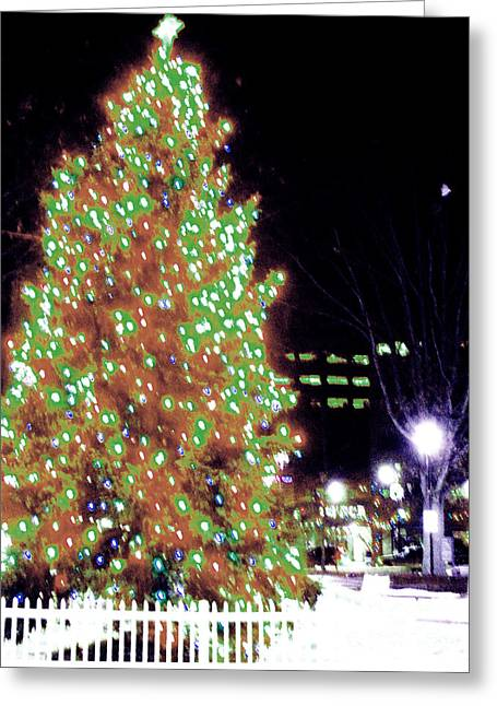 Pa Pyrography Greeting Cards - Christmas on Public Square ONE Greeting Card by Kevin J Cooper Artwork