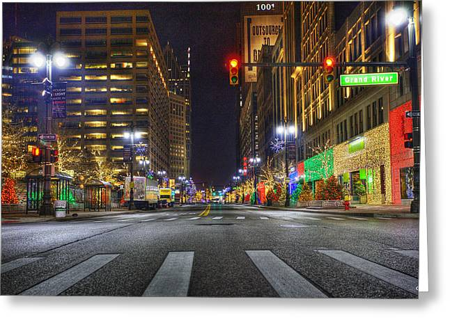 Detroit Pistons Digital Greeting Cards - Christmas on Woodward Greeting Card by Nicholas  Grunas