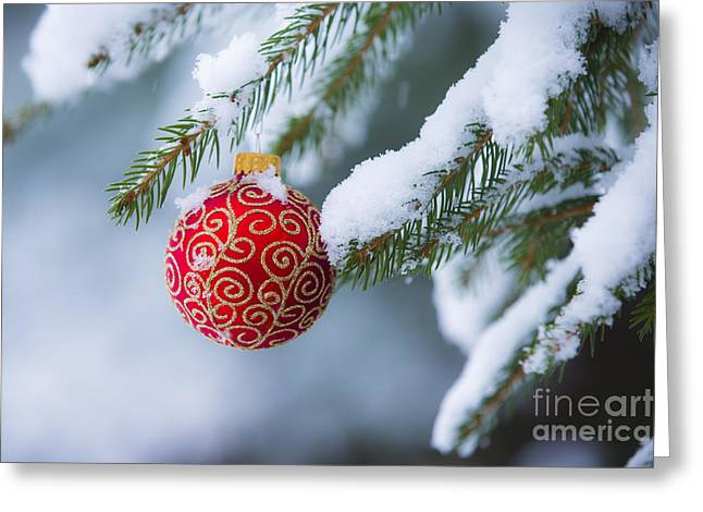 Winter Scene Photographs Greeting Cards - Christmas Ornament Greeting Card by Diane Diederich