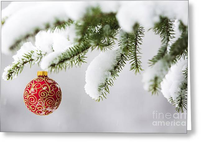 Snow Scenes Greeting Cards - Christmas Ornament in the Snow Greeting Card by Diane Diederich