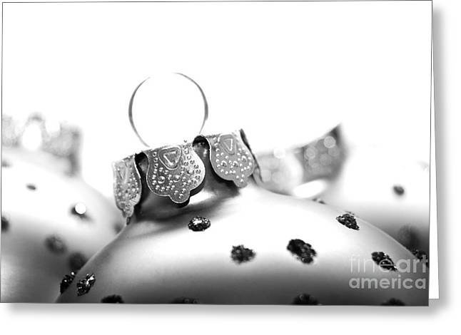 Weihnachten Greeting Cards - Christmas Ornaments monochrome Greeting Card by Sabine Jacobs