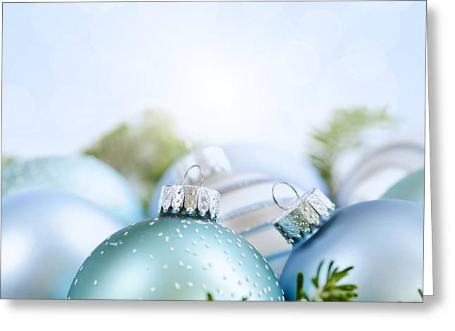 Festivities Greeting Cards - Christmas ornaments on blue Greeting Card by Elena Elisseeva