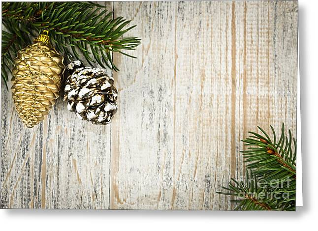 Christmas Ornament Greeting Cards - Christmas ornaments with pine branches Greeting Card by Elena Elisseeva