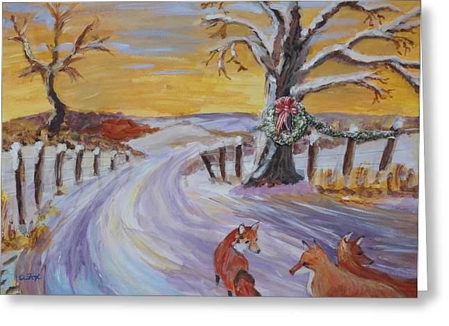 Avis Greeting Cards - Christmas Outing Greeting Card by Avis Fox