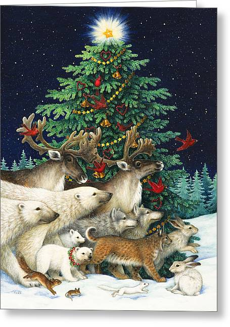Wild Animals Paintings Greeting Cards - Christmas Parade Greeting Card by Lynn Bywaters