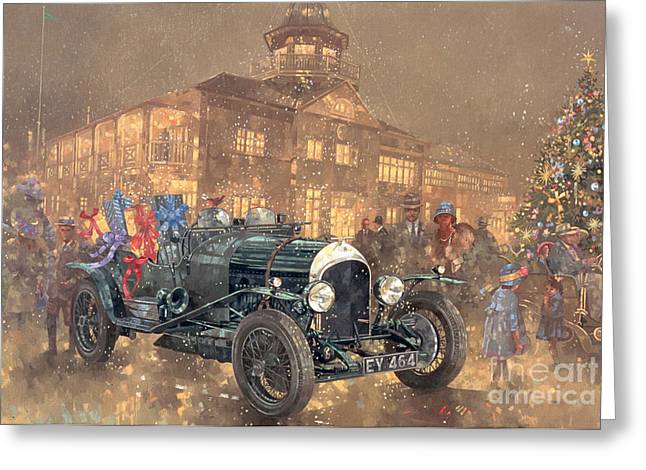 Manufactured Greeting Cards - Christmas Party at Brooklands Greeting Card by Peter Miller