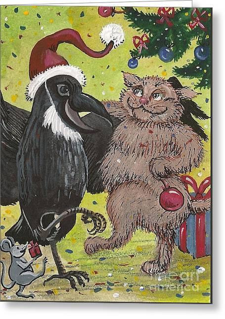 Ryta Greeting Cards - Christmas Party Greeting Card by Margaryta Yermolayeva