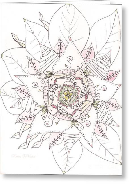 Wishes Drawings Greeting Cards - Christmas Peace Poinsettia  Greeting Card by Nancy TeWinkel Lauren