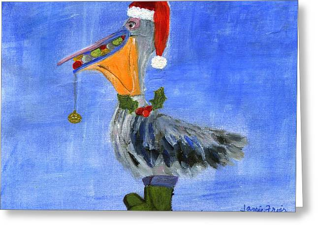 Best Sellers -  - Wildlife Celebration Greeting Cards - Christmas Pelican Greeting Card by Jamie Frier