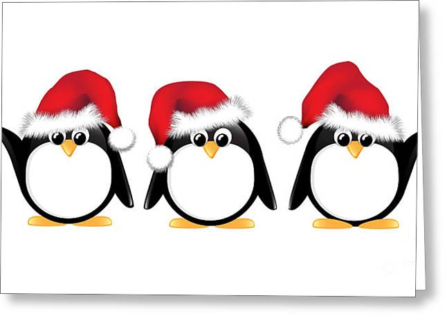 Christmas Penguins Isolated Greeting Card by Jane Rix