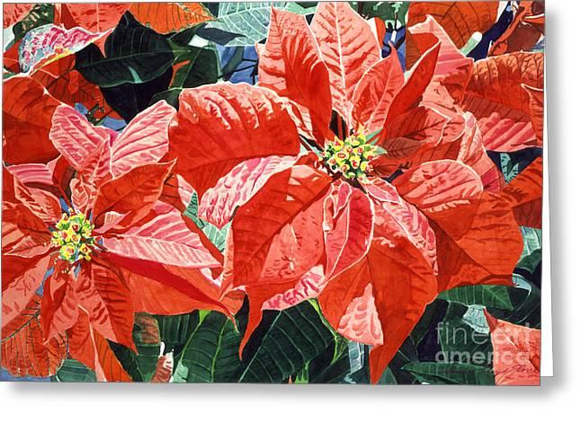 Christmas Poinsettia Magic Greeting Card by David Lloyd Glover