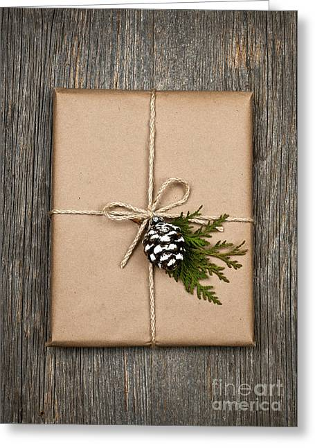 Twine Greeting Cards - Christmas present  Greeting Card by Elena Elisseeva