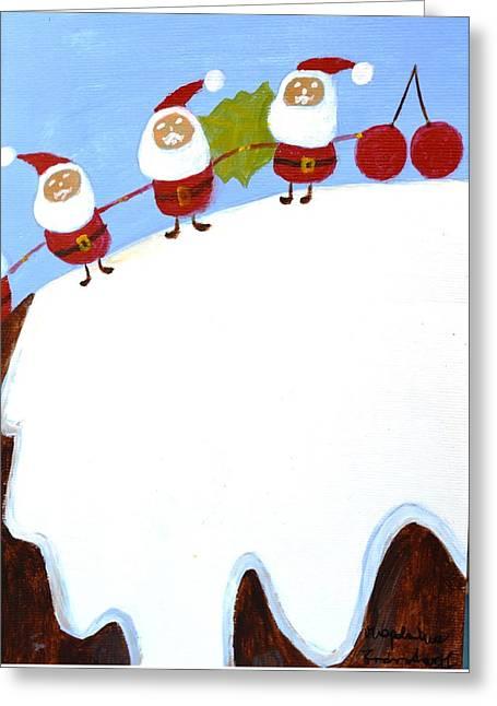 Magdalena Frohnsdorff Greeting Cards - Christmas Pudding and Santas Greeting Card by Magdalena Frohnsdorff