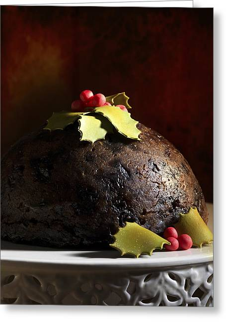 Yuletide Greeting Cards - Christmas Pudding Greeting Card by Amanda And Christopher Elwell