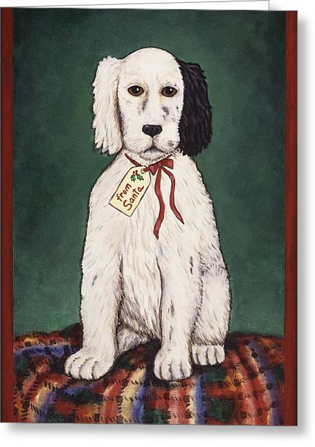 Folk Art Greeting Cards - Christmas Puppy Greeting Card by Linda Mears