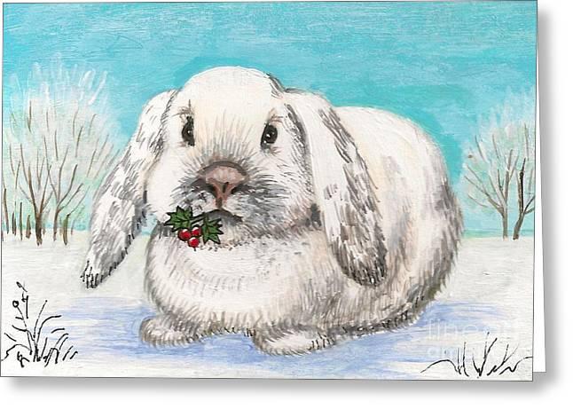 Ryta Greeting Cards - Christmas Rabbit Greeting Card by Margaryta Yermolayeva