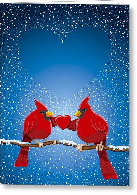 Navidad Greeting Cards - Christmas Red Cardinal Twig Snowing Heart Greeting Card by Frank Ramspott